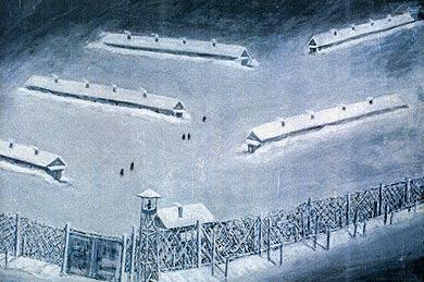 描かれたシベリアの収容所